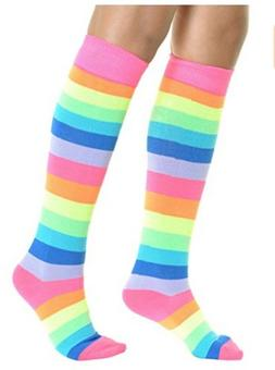 1 Pair Rainbow Knee High Long Boot Socks Rainbow Stripe Wome