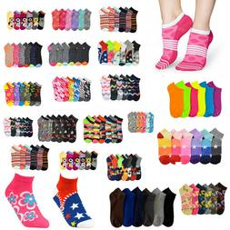 12 pairs Women Girl Neon Colors Ankle Socks Low Cut No show