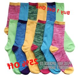 12 Pairs Women's Marled Socks Cotton Crew Ladies Assorted Co