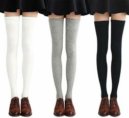Chalier 3-4 Pairs Womens Thigh High Socks Cotton Striped Ove