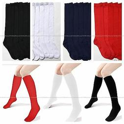 3 6 12 Pair Knee High Uniform School Socks Women Girls White