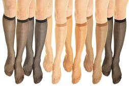 3~6 Pairs 15 denier Womens Comfort Band Stretchy Sheer Knee
