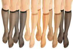 3~6 Pairs Women's hosiery 15 denier Stretchy Sheer Knee High