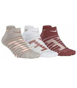 Nike 3 Pack Dry Cushioned Low Socks Maroon Tan White SX6979