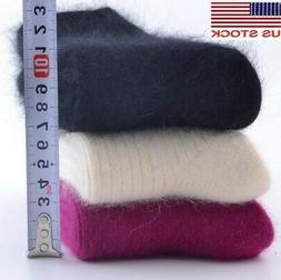 3 Pack Women 100% Pure Wool Cashmere Socks Casual Solid Ther