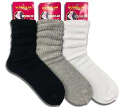 3 Pairs Women's Slouch Socks Scrunch Cotton