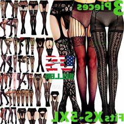 3 Pantyhose Socks Tights Women Stockings Nylon Hold Up Lace