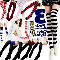 3 Women Striped Thigh High Socks Sheer Over The Knee Cotton