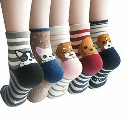 YSense 4-5 Pairs Womens Cute Funny Dog Socks Casual Cotton C
