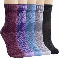 Chalier 4/5 Pairs Womens Vintage Style Casual Cotton Crew So