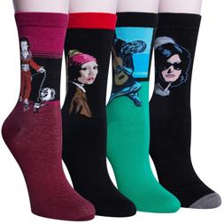 Chalier 4 Pairs / 5 Pairs Womens Famous Painting Art Printed