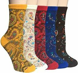 Chalier 5/6 Pairs Womens Funny Socks Vintage Cotton Patterne