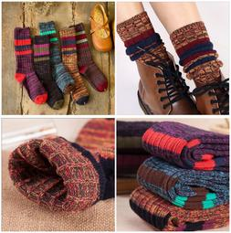 5 Pairs Women Combed Cotton Crew Socks Warm Thick Knit Multi