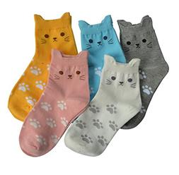 5 Pairs Women's Fun Socks Cute Cat Animals Funny Funky Novel