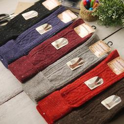 5 Pairs Womens Wool Cashmere Knee-High Thick Warm Design Sol