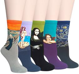 Chalier 5 Pairs Women Famous Painting Art Printed Funny Casu