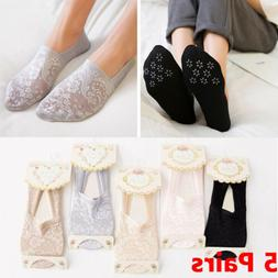 5 Pairs Women Lace Socks Boat Invisible Anti-Skid Low Cut No