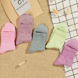5 Pairs Women Socks Soft Mid-Calf Length Cotton