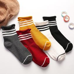 5 Pairs Women Soft Mid-Calf Length Cotton Socks