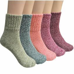 Ysense 5 Pairs Womens Knit Warm Casual Wool Crew Winter Sock