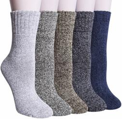 YSense 5 Pairs Womens Knit Warm Casual Wool Crew One Size, A