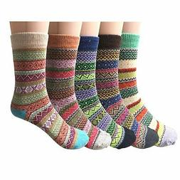Loritta 5 Pairs Womens Vintage Style Winter Warm Thick Knit
