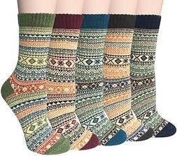 5 Pairs Womens Vintage Style Winter Warm Thick Knit Wool Coz