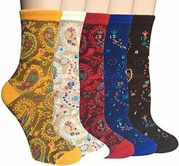 Chalier 5 Pairs Womens Winter Warm Funny Casual Cotton Crew