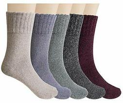 5 Pairs Womens Wool Socks Thick Knit Vintage Winter Warm Coz