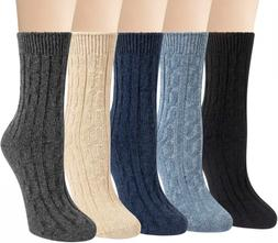 5 Pairs Womens Wool Socks Winter Warm Thick Knit Cabin Cozy
