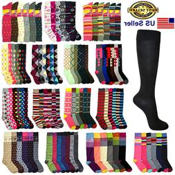 6 12 Pairs Women Girls Knee High Multi Color Fashion Fancy D