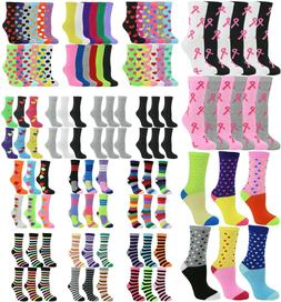 Lot 12 Pack or 6 Pair Women's Cotton Colorful Dots Stripes A