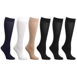 6-Pack Women Trouser Socks Stretchy Spandex Opaque Knee High