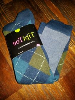 Pair Tipi Toe Womens Knee High Socks Size 9-11 Argyle Patter