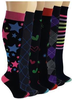 Different touch 6 Pairs Compression Socks for Women 15-20 mm