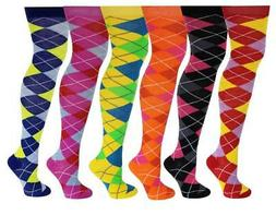 6 Pairs Women Assorted Argyle Design Colorful Thigh High Ove