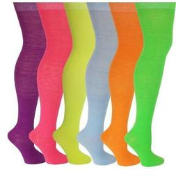6 Pairs Women Assorted  Solid Neon Colorful Thigh High Over