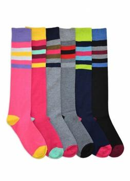 6 Pairs Women Comfort Socks Girls Peace Color Stripe Long Kn