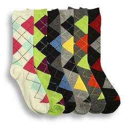 6 Pairs Women Comfort Socks Lot Long Lady Argyle Fashion Cre