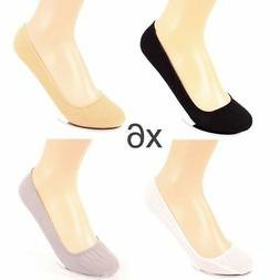 6 Pairs Womens Liner Socks No Show Peds Boat Ballet Plain Fo