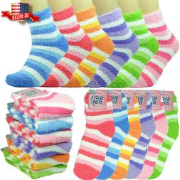 6 Pairs Womens Soft Cozy Fuzzy Winter Warm Striped Slipper C