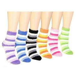6 Pairs Womens Soft Cosy Fuzzy Winter Warm Striped Slipper C