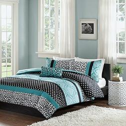 Comforter Bed Set Teen Bedding Modern Teal Black Animal Prin