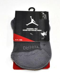 NIKE Air Jordan High Quarter Socks Grey/Grey Women's 4-6 You