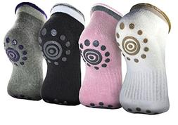 HOVEOX Anti-slip Non-skid Yoga Pilates Socks with Grips Cott