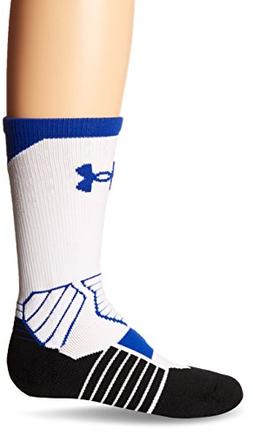 Under Armour Basketball Curry Crew Socks, White/Royal, Size