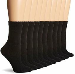 Hanes Women's Big-Tall Crew Extended Size Sock, Black, 10-12