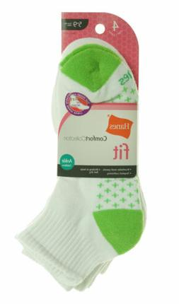 Hanes Comfort Collection Women's 4 Pack Ankle Socks Green/Pi
