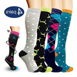 Compression Socks For Men & Women - 4Pairs - Best for Runnin