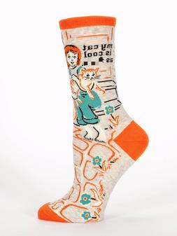 Blue Q Women's Crew Funny Socks, My Cat Is Cool As F*** - Gr